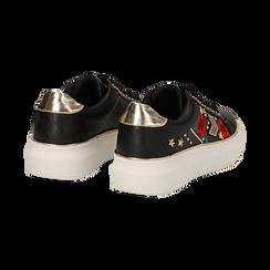 Sneakers nere in eco-pelle con ricami, borchie e stelle gold, suola 4 cm , Scarpe, 142008359EPNERO036, 004 preview