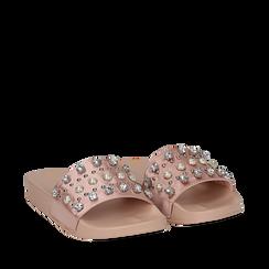Zeppe nude in raso con perle e strass, Primadonna, 112028218RSNUDE035, 002a