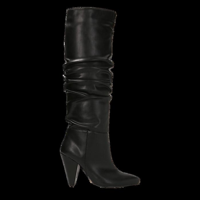 Stivali neri gambale drappeggiato, tacco a cono 10 cm, Primadonna, 124911206EPNERO