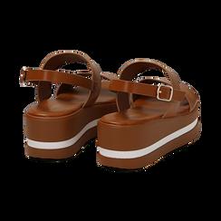 Sandali platform cuoio in eco-pelle, zeppa 5 cm , Primadonna, 132147512EPCUOI036, 004 preview