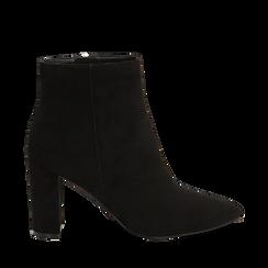 Ankle boots neri in microfibra, tacco 8,5 cm , Scarpe, 144925791MFNERO035, 001a