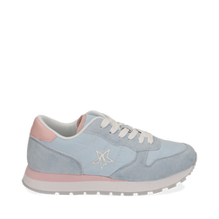 Sneakers celesti in microfibra, Primadonna, 150620011MFCELE036, 001a