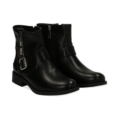Bottines Biker noir en simili-cuir, Chaussures, 150619015EPNERO037, 002 preview