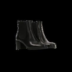 Chelsea Boots neri in vera pelle, tacco quadrato medio 5,5 cm, Primadonna, 127722102PENERO035, 002