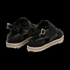 Sandali platform neri in eco-pelle, zeppa 4 cm, Saldi, 132172081EPNERO036, 004 preview