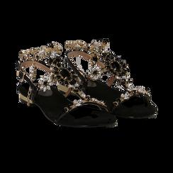 Sandali gioiello flat neri in microfibra,