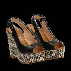 Sandali platform neri in eco-pelle, zeppa intrecciata 13 cm , Primadonna, 134907984EPNERO037, 002a