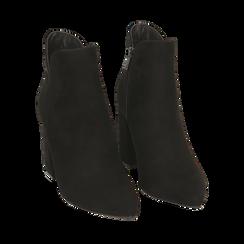 Ankle boots neri in microfibra, tacco 9 cm , Primadonna, 162709165MFNERO035, 002a