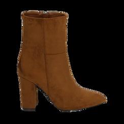 Ankle boots cuoio in microfibra, tacco 9,50 cm , Primadonna, 163026508MFCUOI036, 001a