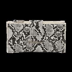 Portafogli bianco/nero stampa pitone, Borse, 155122158PTBINEUNI, 001 preview