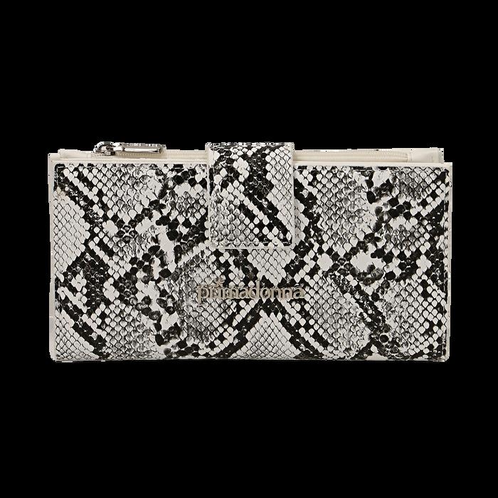 Portafogli bianco/nero stampa pitone, Borse, 155122158PTBINEUNI