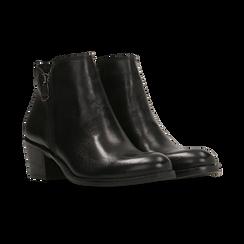 Tronchetti neri in vera pelle con punta western, tacco 3 cm, Primadonna, 128900470VINERO, 002 preview