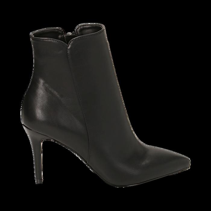 Ankle boots a punta neri in eco-pelle, tacco 8,5 cm , Stivaletti, 141764344EPNERO035