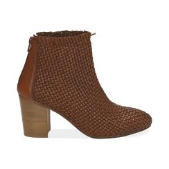 Bottines camel en cuir tressé, talon 7,50 cm, Chaussures, 15C515018PICUOI037, 001 preview