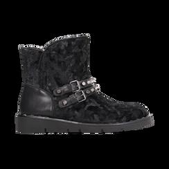 Scarponcini da neve neri con fibbie e borchie, Scarpe, 120810075VLNERO, 001 preview