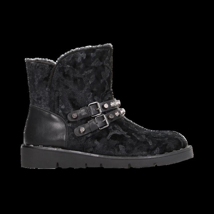 Scarponcini da neve neri con fibbie e borchie, Scarpe, 120810075VLNERO036