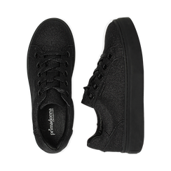 Sneakers nere glitter, suola 4 cm , Scarpe, 142509512GLNERO038, 003 preview