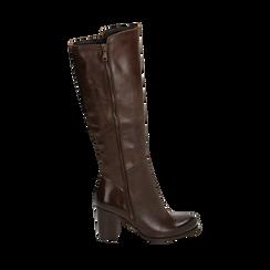 Stivali testa di moro in pelle di vitello, tacco 8 cm , Stivali, 14A200748VIMORO035, 001a