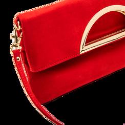 Pochette rossa in microfibra scamosciata, Borse, 123308714MFROSSUNI, 003 preview