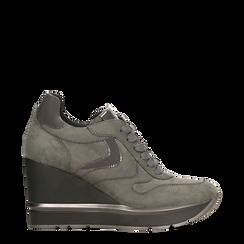 Sneakers grigie con zeppa platform, Primadonna, 122808661MFGRIG035, 001a