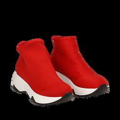 Sneakers a calza rosse in lycra, zeppa 5 cm , Scarpe, 142008357LYROSS035, 002a