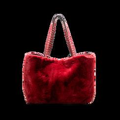 Borsa shopper bordeaux in pelliccia con pochette e portamonete, Borse, 125702076FUBORDUNI, 002 preview