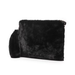 Pochette nera in eco-fur, Borse, 14B443016FUNEROUNI, 004 preview