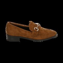 Mocassini cuoio in microfibra, Chaussures, 164964141MFCUOI041, 001 preview