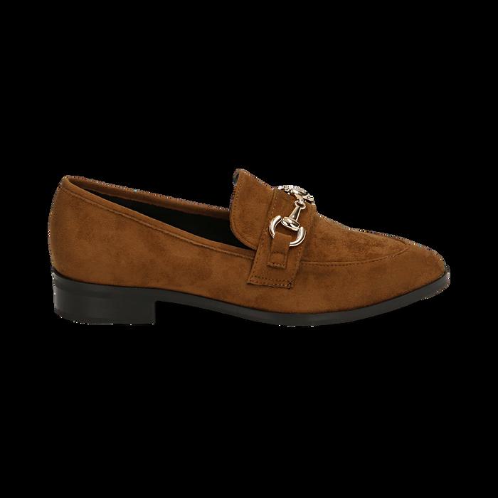 Mocassini cuoio in microfibra, Chaussures, 164964141MFCUOI041