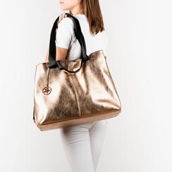 Maxi-bag oro rosa in eco-pelle laminata, Primadonna, 152392506LMRAORUNI, 002a