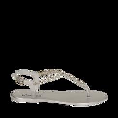 Sandali infradito argento in pvc, Primadonna, 130982021PVARGE035, 001a