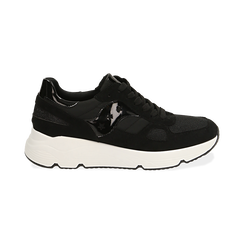 Sneakers nere in tessuto tecnico, zeppa 4 cm , OUTLET, 162801993TSNERO036, 001