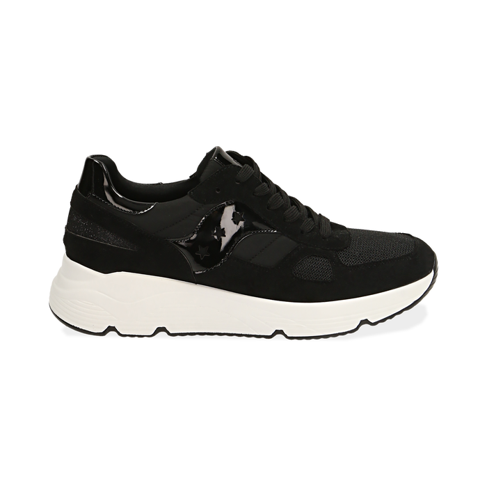 Sneakers nere in tessuto tecnico, zeppa 4 cm , Primadonna, 162801993TSNERO035