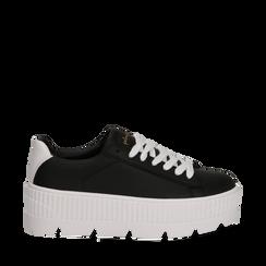 Sneakers platform nero/bianche in eco-pelle, Scarpe, 132618776EPNEBI041, 001a