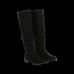 Stivali neri flat con gambale morbido, tacco 2,5 cm, 122705486MFNERO036, 002