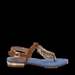 Sandali infradito flat azzurri in microfibra con catenelle, Scarpe, 134909952MFAZZU035, 001a
