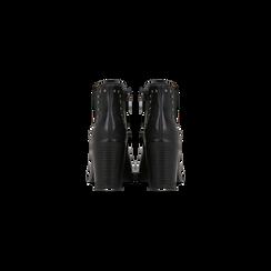 Tronchetti neri con profilil elastici e mini-borchie, tacco 5 cm, Primadonna, 129321587EPNERO040, 003 preview