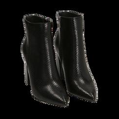 Ankle boots neri in eco-pelle stampa pitone, tacco 9,5 cm , Primadonna, 142186672PTNERO035, 002a