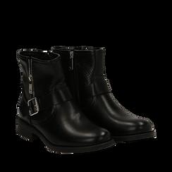 Bottines Biker noir en simili-cuir, Chaussures, 150619015EPNERO037, 002a
