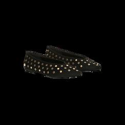 Ballerine nere in microfibra scamosciata e mini-borchie, tacco basso, Primadonna, 124991821MFNERO035, 002 preview