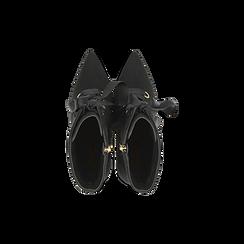 Tronchetti neri lace-up, tacco a spillo 10 cm, Scarpe, 122167016MFNERO, 004 preview