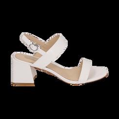 Sandalias en eco-piel con estampado de serpiente color blanco, tacón 6,50 cm, Primadonna, 152790111PTBIAN036, 001 preview