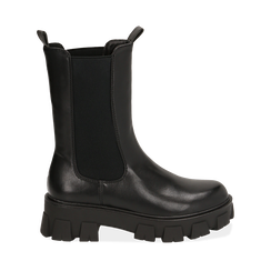 Chelsea boots neri, platform 6 cm, Primadonna, 160622483EPNERO035, 001a