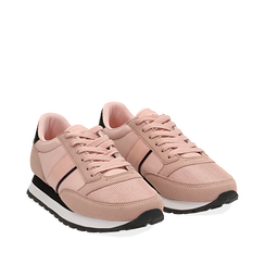 Sneakers nude in tessuto tecnico , Scarpe, 142619079TSNUDE035, 002a