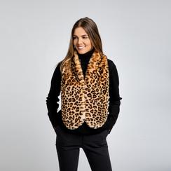 Coprispalla in eco-pelliccia leopard, Saldi, 12B414001FULEOPUNI, 003