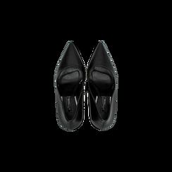 Décolleté nere con punta affusolata, tacco 10 cm, Scarpe, 122166025EPNERO, 004 preview