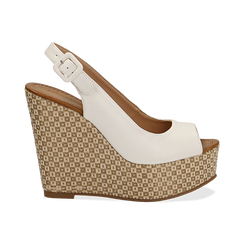 Sandali platform bianchi in eco-pelle, zeppa intrecciata 13 cm , Primadonna, 134907984EPBIAN035, 001 preview