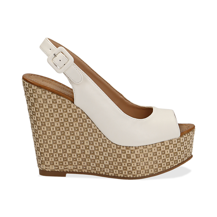 Sandali platform bianchi in eco-pelle, zeppa intrecciata 13 cm , Primadonna, 134907984EPBIAN035