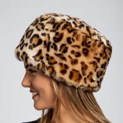 Colbacco leopard in pelliccia, Saldi Abbigliamento, 12B413001FULEOPUNI, 003