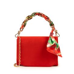 Mini bag corallo in microfibra con manico foulard in raso, Borse, 155122756MFCORAUNI, 001a